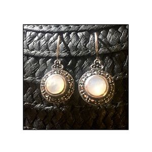 Round Moonstone & Marcasite Earrings Sterling .925